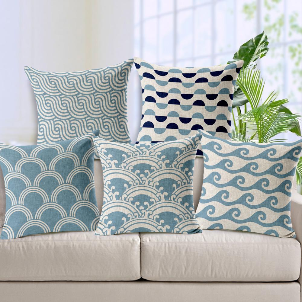 Light Blue Chevron Linen Cotton Cushion Wave Pattern Home Decor Pillow Decorative Throw Pillows sofa cushions