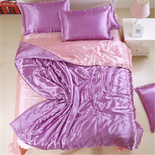 Luxury Jacquard bedding set Silk 4pcs satin bedclothes bed linen queen king size quilt/duvet cover set bedsheets silk bedcover(China (Mainland))