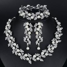 Mecresh Luxury Classic Crystal Bridal Jewelry Set for Women Clear Rhinestone Wedding Bracelets Necklace Sets 2018 TL475+SL341(China)