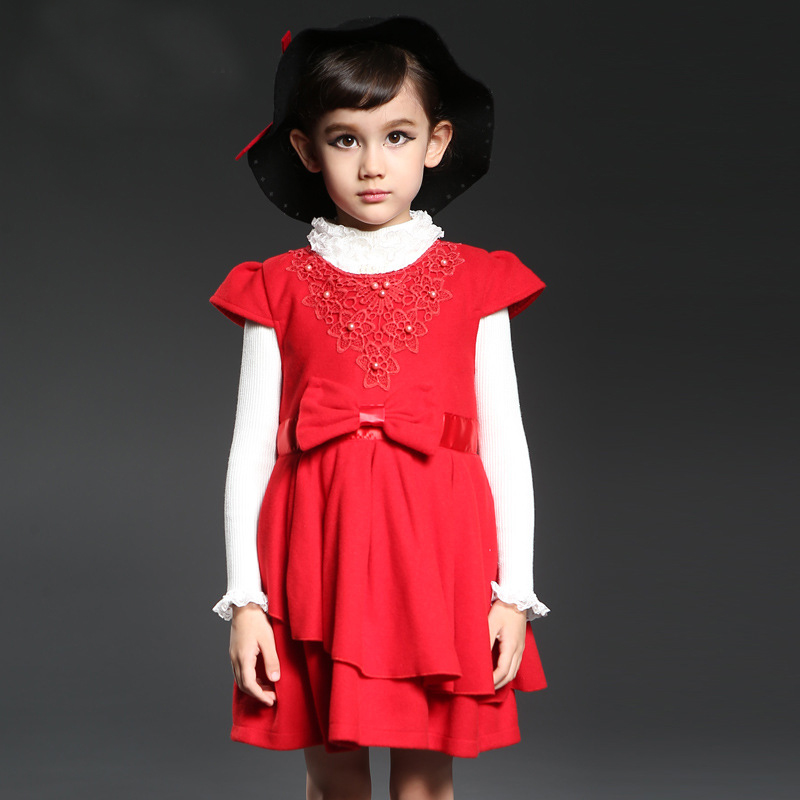 New 2016 Girls Spring Dress Rose Red Bowknot Tribute Kids Dresses for Girls Birthday Party Size 3-10T vestidos infantis<br><br>Aliexpress