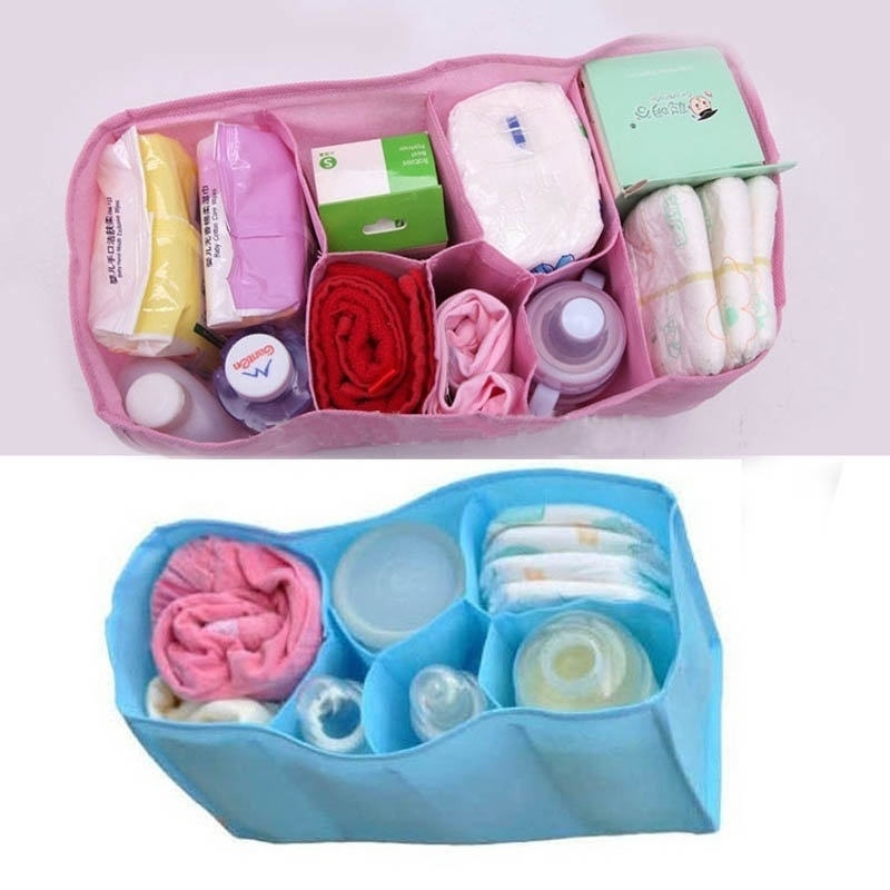 1 pcs Beautiful Baby Portable Diaper Nappy Water Bottle Changing Divider Storage Organizer Bag maquillaje organizador viaje(China (Mainland))