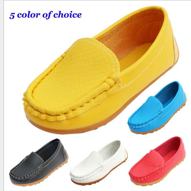 Новое детская обувь дети для девочек мальчиков дышащая кроссовки квартиры с мягкой кожи кроссовки ShoesToddler / маленький ребенок / Big Kid