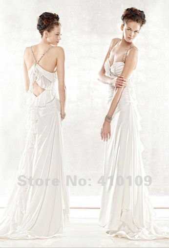 Free shipping chiffon spaghetti strapswith open sexy back for Sell your wedding dress for free