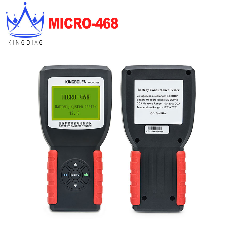 MICRO-468 Car Battery System Tester for 12v & 24v system Multi-language micro 468 for SOH SOC CCA Same as Launch BST-460