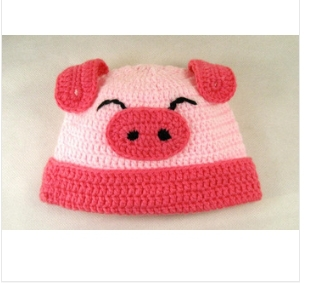 Free Shipping Pure Handmade Baby Hat cute pink pig elegant fashion, baby's best friend(China (Mainland))