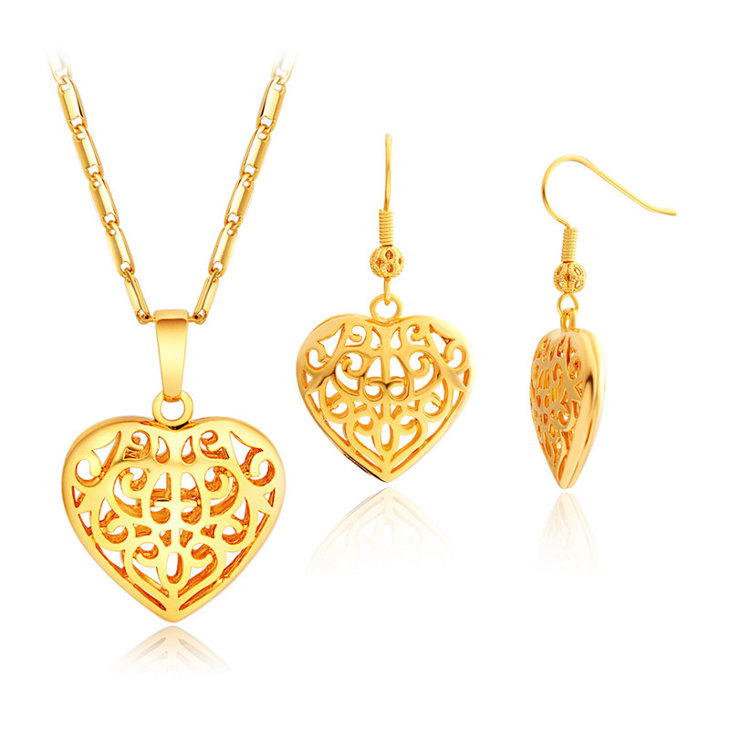 2016 New plated 18K gold jewelry sets, jewelry heart-shaped hollow Ms. Ms. necklace pendant earrings free shipping(China (Mainland))