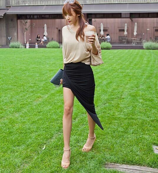 saias 2015 femininas новый сексуальный обертывание талии драпированные женщин юбки вырезать асимметричный низкой saias femininas формальных