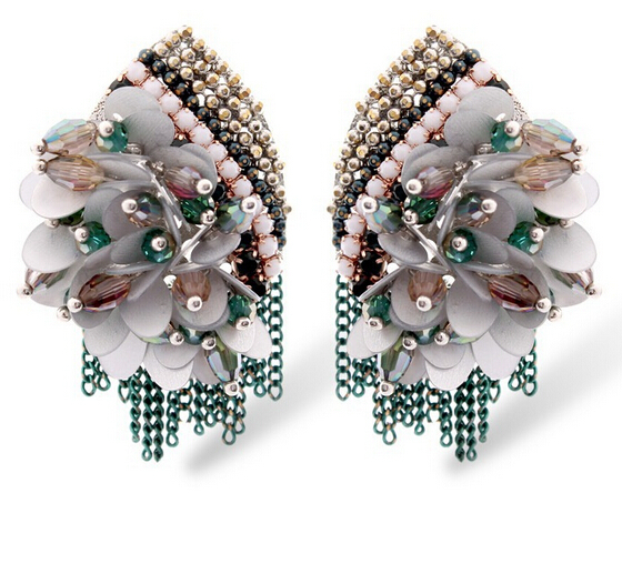 2015 women bohemia green handmade new style diy bridal brinco earing aretes elegant pear drop - Boucle d oreille diy ...
