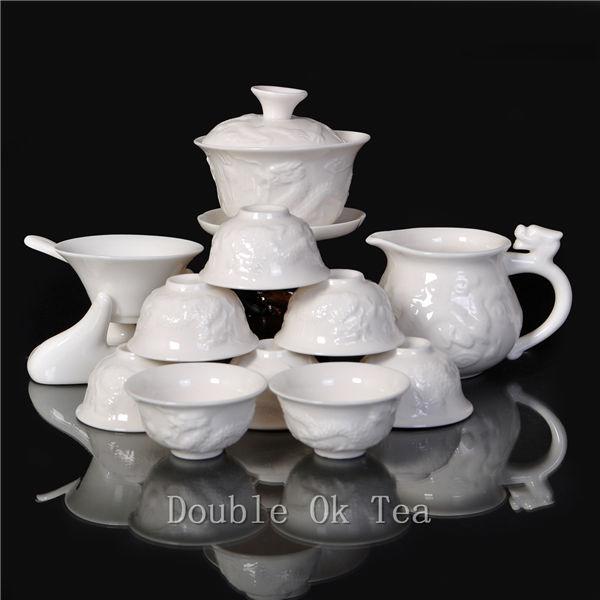 14pcs Chinese Ceramic Gongfu Tea Set Dragon 1 Bone China Gaiwan 8 Porcelain Teacups For