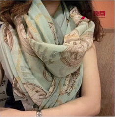 HR27 Voile summer style desigual long Korean fashion flower print voile scarf women scarves shawls desigual wraps(China (Mainland))