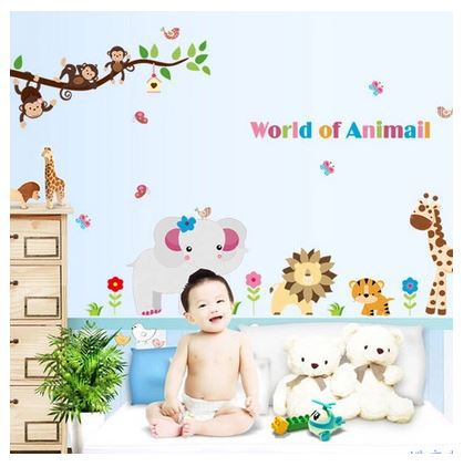 Drop Shipping Animals World Cartoon Children Room Decals Environmental Wall Sticker Kids Bed Room Poster Stickers(China (Mainland))