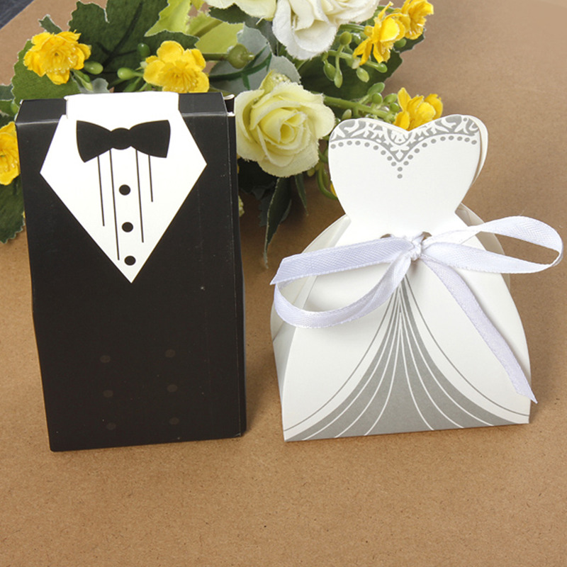New 100pcs Bridal Gift Cases Groom Tuxedo Dress Gown Ribbon Wedding