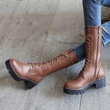 MORAZORA 2019 phụ nữ mới của giữa bắp chân giày phối ren nền tảng Giày Mũi Tròn thu đông botas nữ Kích thước giày 34-43(China)