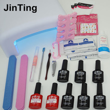 Nail Art professional Tools 36W UV Lamp + 6 Color 10ml Gel base top coat polish , Practice set File kit send gift for girlfriend(China (Mainland))