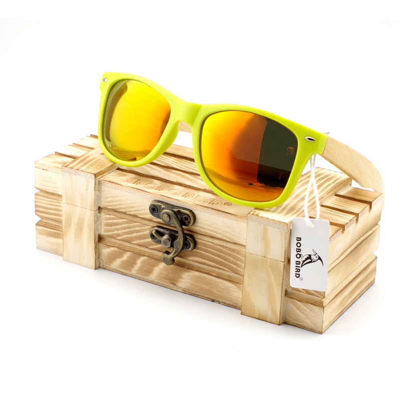 New Brand Vintage Style Candy Color Wayfarer Bamboo Wood Sunglasses for Men Selling Polarized glasses frame online(China (Mainland))