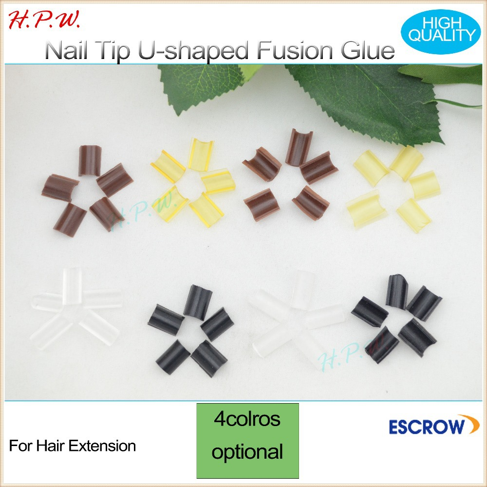H.P.W.20000pcs strong glue Nail Tip Keratin U-Shape Fusion granule beads for hair extensions brown blonde black transparent