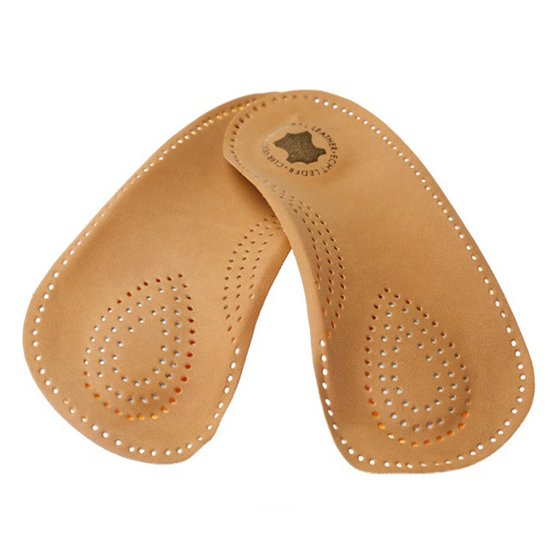3/4 length orthotic leather insole Half arch support orthopedic insoles flat foot correct insert shoe pad(China (Mainland))
