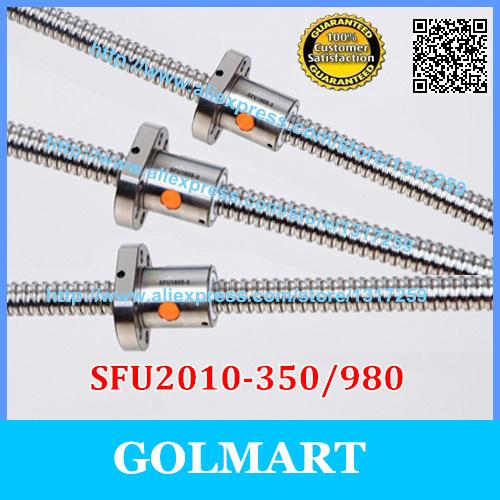 RM 2010 -L 350/980mm ball screw+ 2pcs SFU2010 ballnut for CNC Maching Linear X Y Z Working Table(China (Mainland))