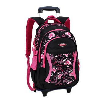 Lovely-Heart-Printing-Girls-Trolley-School-Bags-Travel-bags-on-Wheels ...