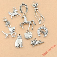 Buy 10pcs Mixed Tibetan Silver Plated Animals Horse Luck Cat Charm Pendants Jewelry Making Diy Handmade Crafts m024 for $1.08 in AliExpress store