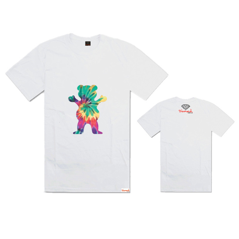 12 Colors Hot Sale New 100% Cotton Diamond Supply Co Grizzly Colorful Bear Print Men's Casual Loose O-Neck Short Sleeves T-shirt(China (Mainland))