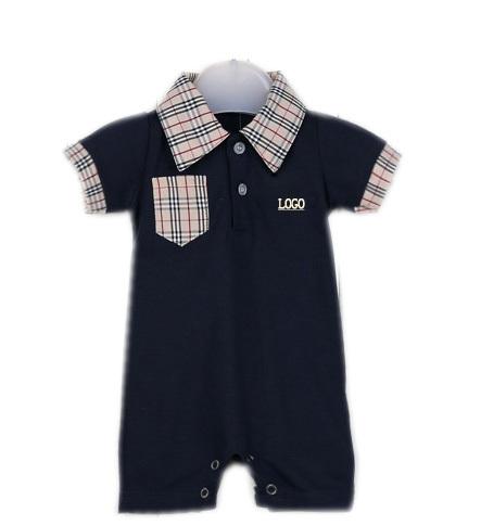 0-3 months Newborn leotard summer modern fashion Baby Boy Romper clothing plaid cotton clothes lapel costume overall(China (Mainland))