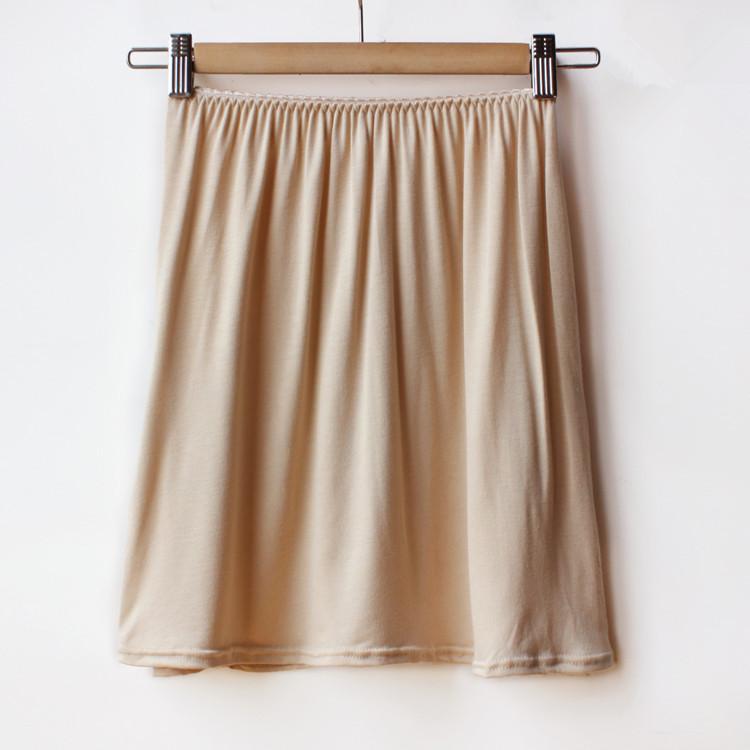 2016 Summer Brand Women Solid Modal Half Slips Plus Size Elastic Waist Underskirt One Size White Black Khaki(China (Mainland))