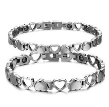Couple Lover Heart Ladies Mens Silver Stainless Steel Magnetic Power Bracelet BYSB725(China (Mainland))