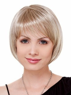 Sale Wig Day Short Straight Blonde Wig With Full Bangs Chic BOB Style Full Wigs for Women Peruk Synthetic Hair Short Wigs fo(China (Mainland))