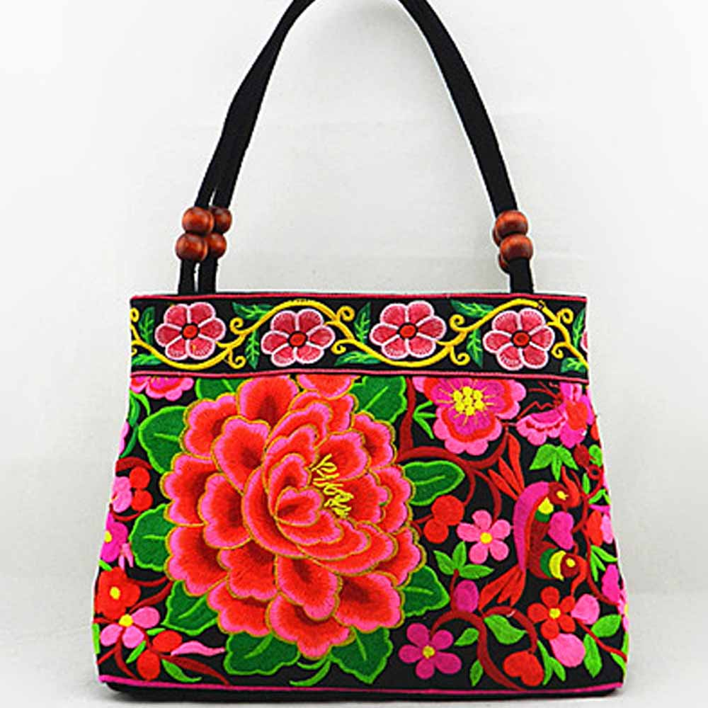 National trend embroidery bags Women double faced flower embroidered one shoulder bag handbag(China (Mainland))
