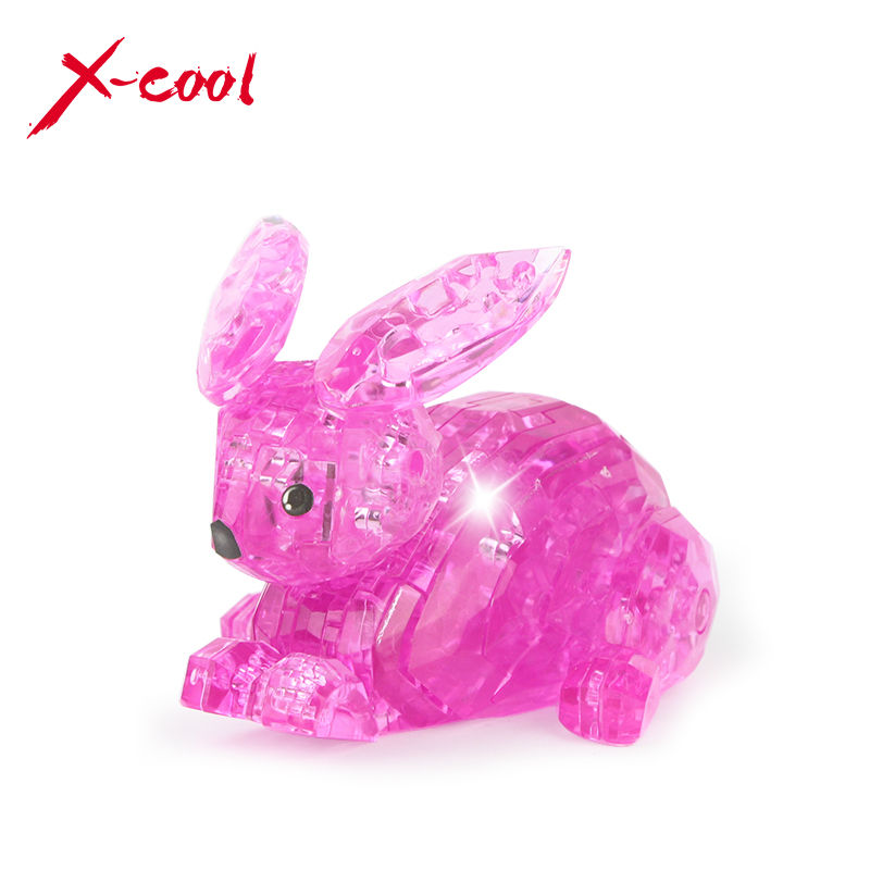 56pcs XC9027 DIY Funny Rabbit 3D Crystal Puzzles the IQ intelligence toys 3D puzzle plastic toys professional puzzle gifts(China (Mainland))
