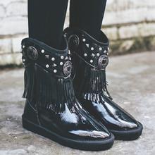 Marca Nueva Borla Del Remache Botas de Nieve de Las Mujeres Zapatos de Moda Botines Zapatos de Las Señoras de Invierno Botas de Mujer de Invierno Caliente Impermeable(China (Mainland))