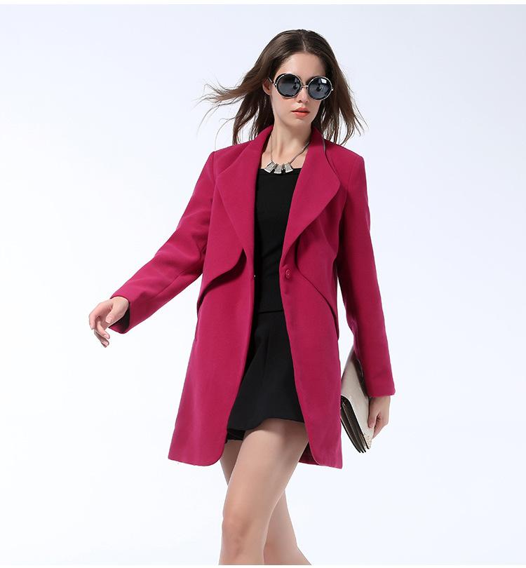 New Arrival 2015 women winter warm wool coat trench coat for women red full women s
