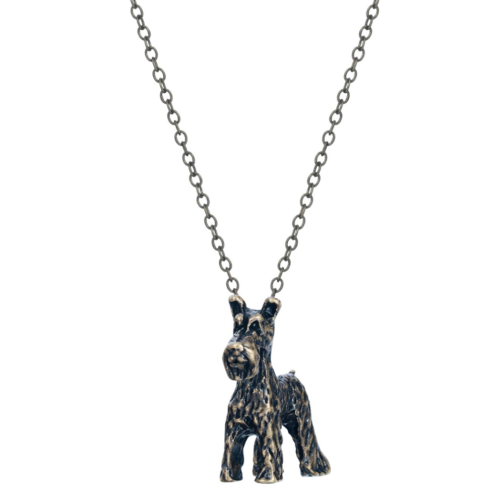 3D Realistic Schnauzer Dog Breed Animal Unique Necklaces & Pendants Gift for Women and Girls(China (Mainland))