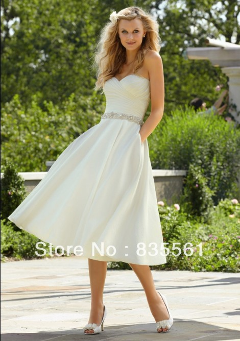 2015 mid calf wedding dresses satin sweetheart beach for Calf length wedding dresses