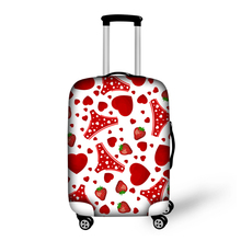 Red Sweet Heart Strawberry Printing Luggage Protector For Pretty Ladies Outdoor Travel High Elastic Suitcase Protective Covers(China (Mainland))