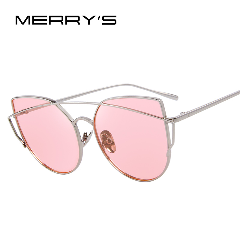 MERRY'S 2016 New Cat Eye Sunglasses Womens Classic Brand Designer Twin-Beams Sun Glasses For Women Coating Mirror S'8018(China (Mainland))