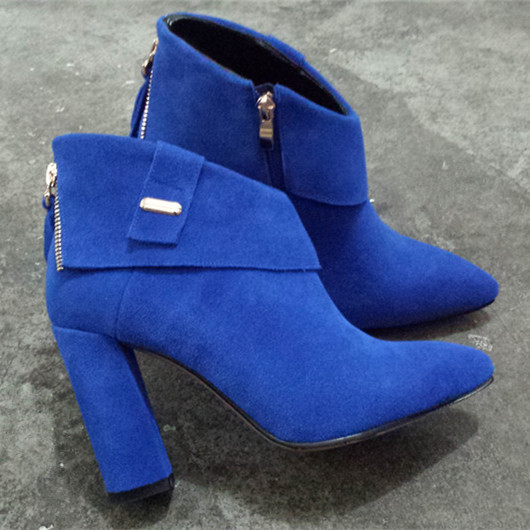 Pointy Toe Side Zippers Thick Heels Women Fashion Short Boots Black Blue Cowhide Suede Elegant Female booties Shoes Size 38 39