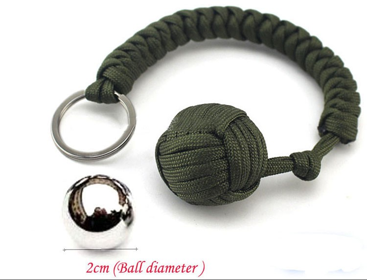 Key chain Outdoor self-defense field emergency survival kit key rings seven-core umbrella hand-woven keychain with steel ball  (1)