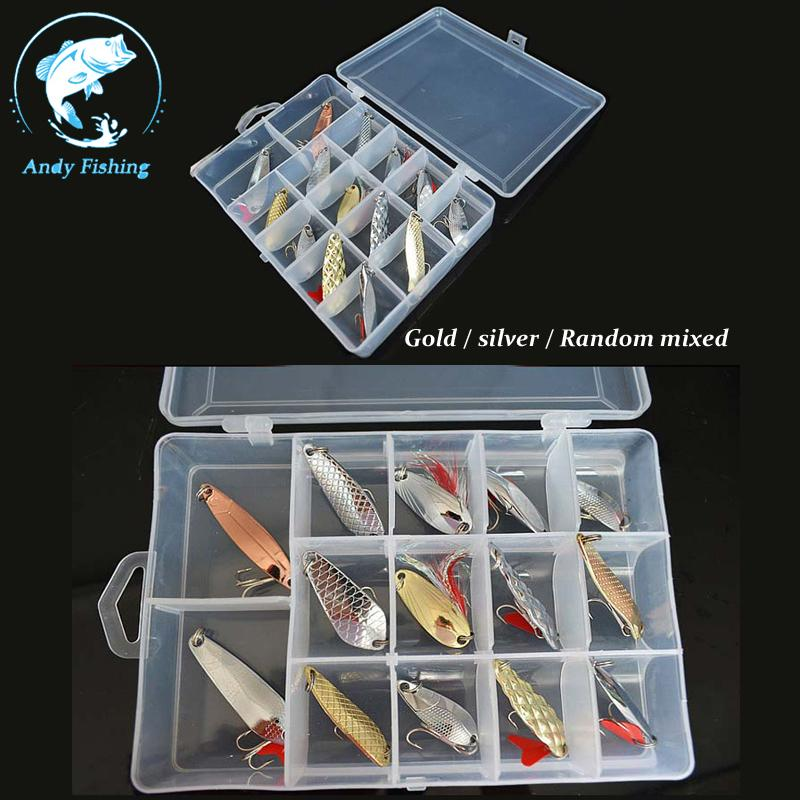 Metal Fishing Lures Spoon 14pcs/box bait hook Set Tackle Box Tool - Andy store