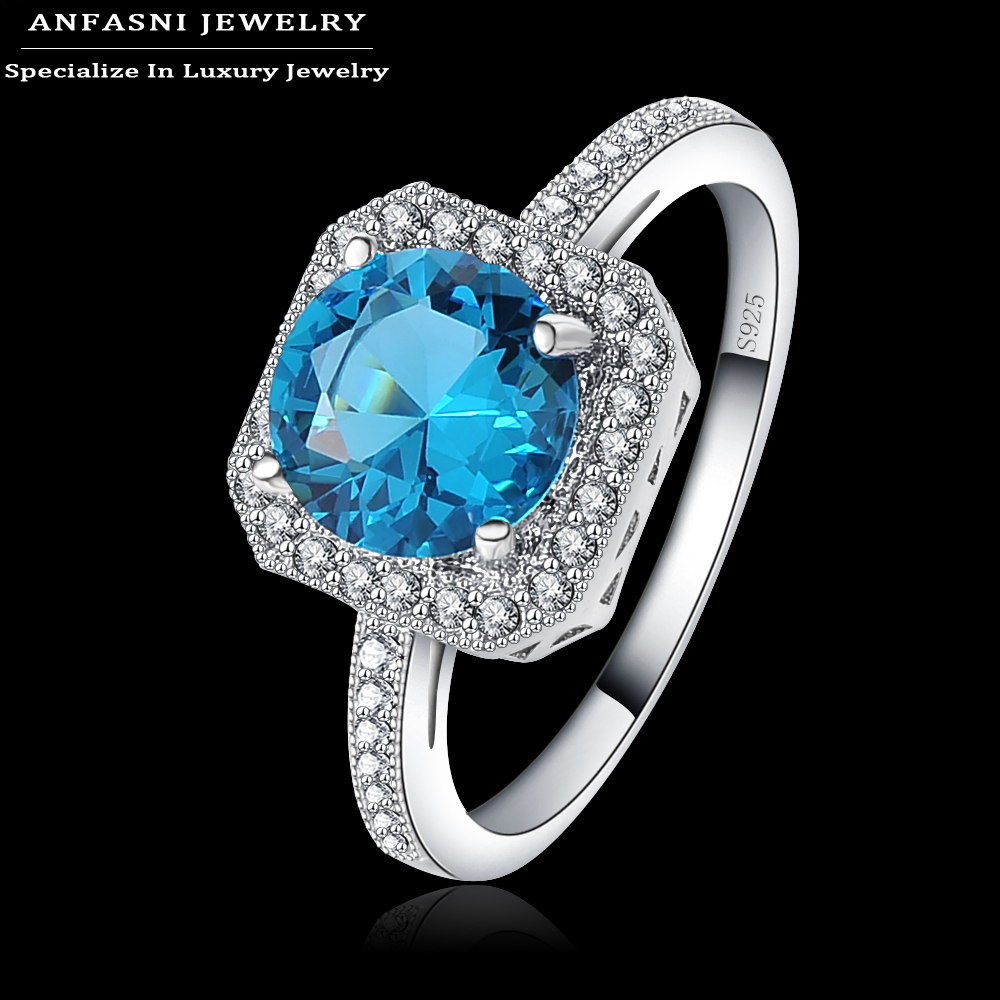 ANFASNI S925 2016 Fine Jewelry Rings Zirconia Inlayed Blue Stone Square Engagement Rings Bijoux Women Wedding Rings BRI0342-B(China (Mainland))