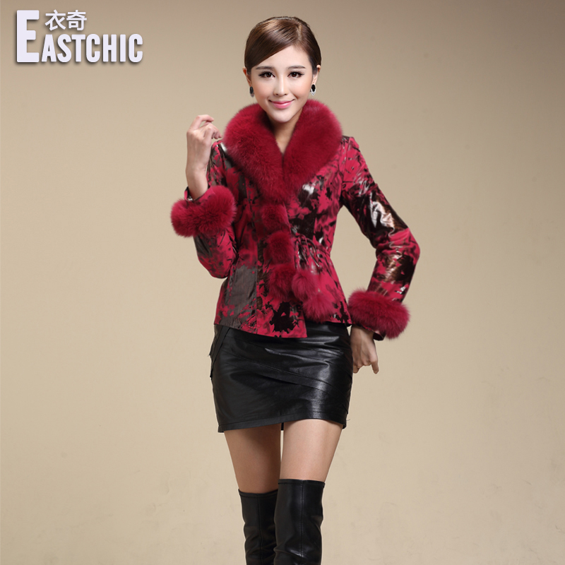 2014 autumn winter women fashion printing genuine sheepskin real fox fur collar slim leather coat elegant fur leather outerwearОдежда и ак�е��уары<br><br><br>Aliexpress