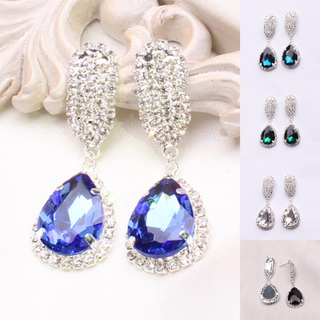 Classic Crystal Stone Stud Earrings Fashion Sterling Silver Pendant Earrings for Women Newest Summer Style Earrings for Wedding<br><br>Aliexpress