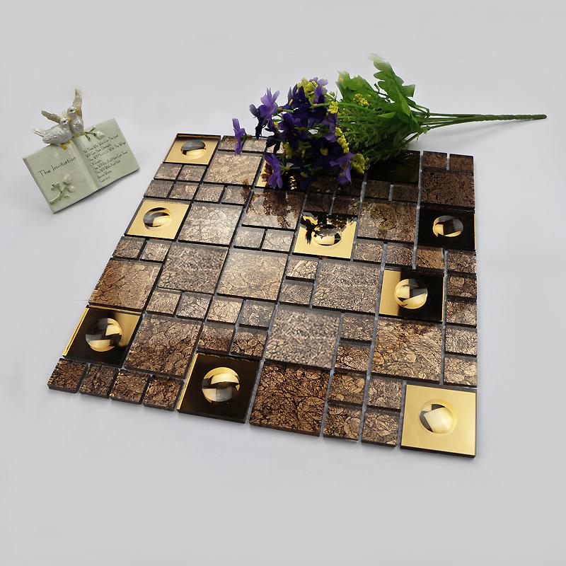 brown crystal glass mosaic HMGM1145 for kitchen backsplash tile bathroom shower hallway wall mosaic free shipping<br><br>Aliexpress