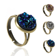 Copper Adjustable Druzy /Drusy Rings Round Antique Bronze Royal Blue Silver-gray Multicolor AB Color 16.7mm(US size 6.25), 2 PCs(China (Mainland))