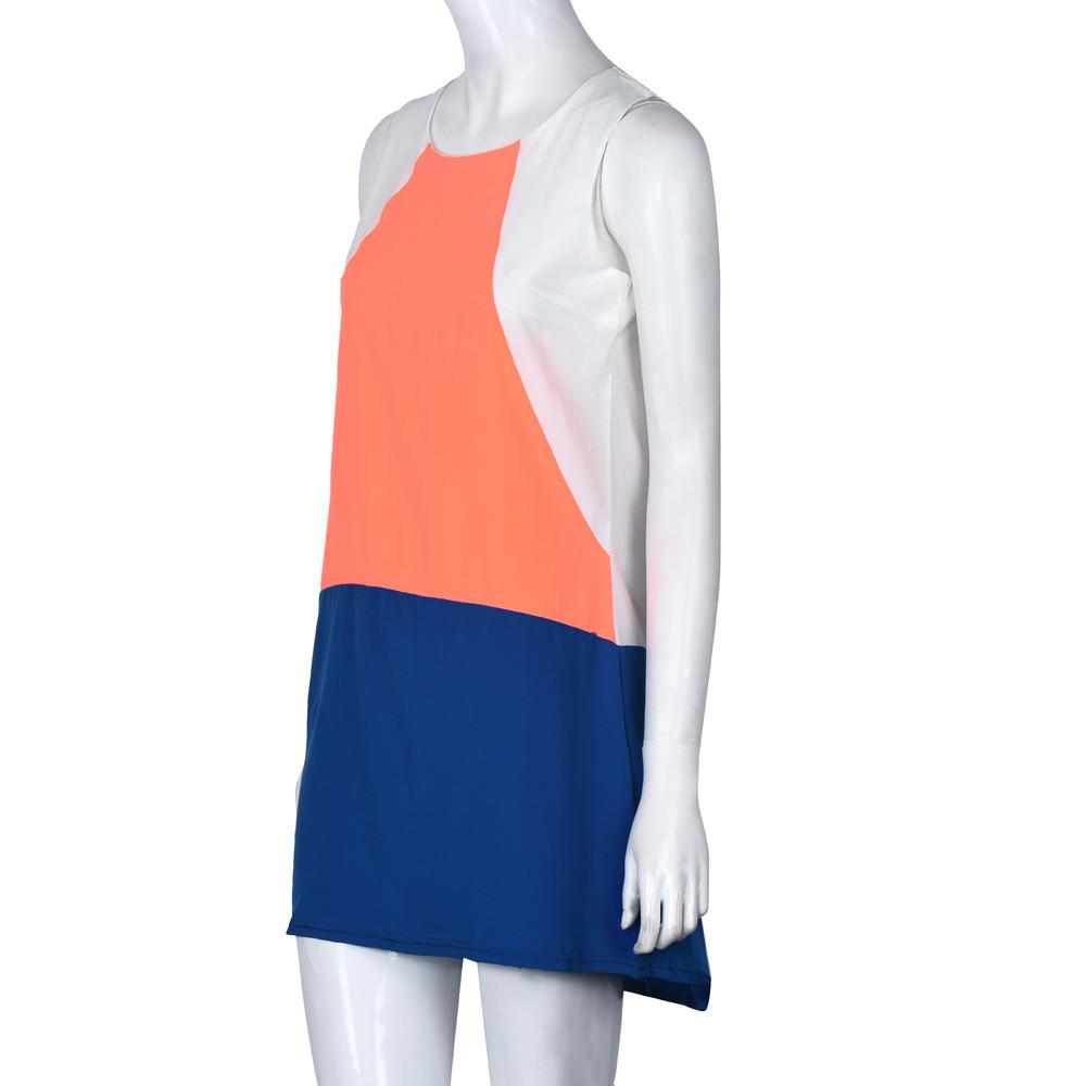 Kimisohand summer dress 2016 dresses Women Blue White Sleveless Auburn Color Block plus size dresses(China (Mainland))