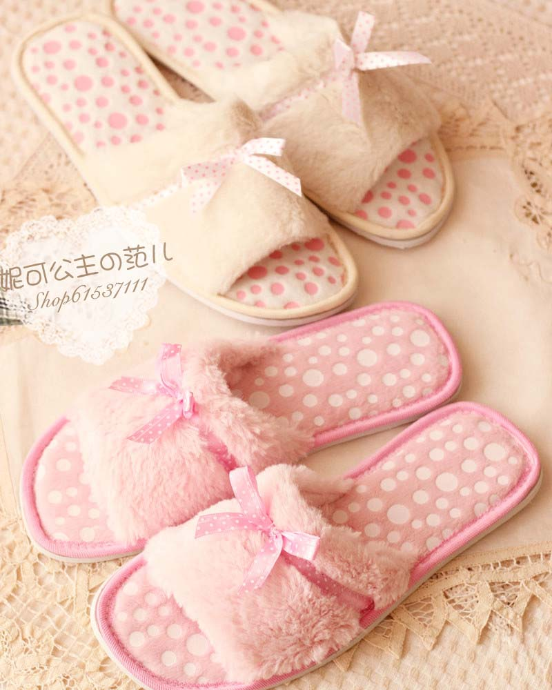 Beautiful 2013 clinched plush velvet bow home slip-resistant slippers open toe shoe open toe slippers<br><br>Aliexpress