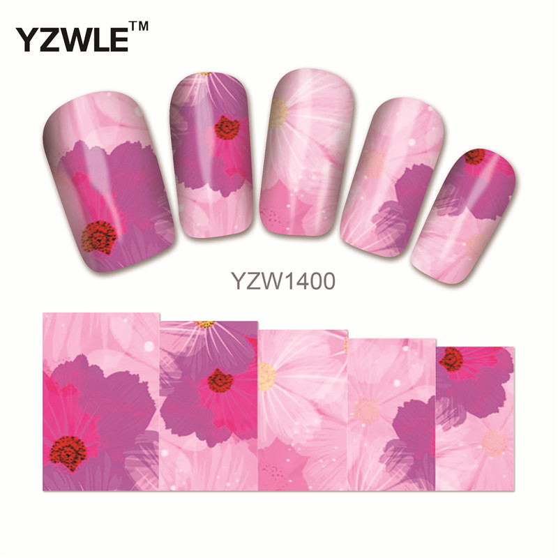 YZWLE 1 Sheet DIY Decals Nails Art Water Transfer Printing Stickers Accessories For Manicure Salon (YZW1400)(China (Mainland))