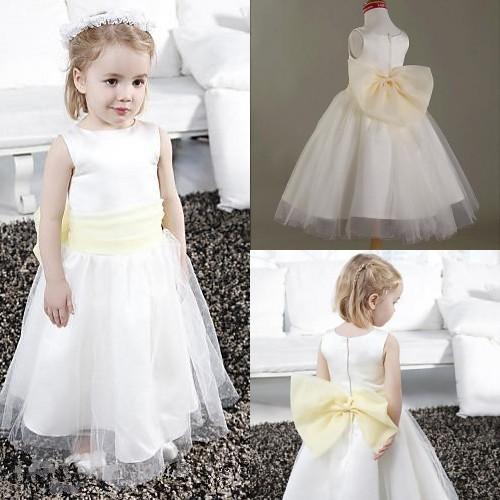 2015 a line scoop floor length flower girl dress girl for Flower girl dress for beach wedding