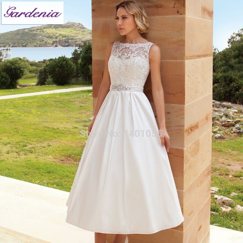 Elegant princess deetrios wedding dresses 2015 a line for Lace ankle length wedding dress